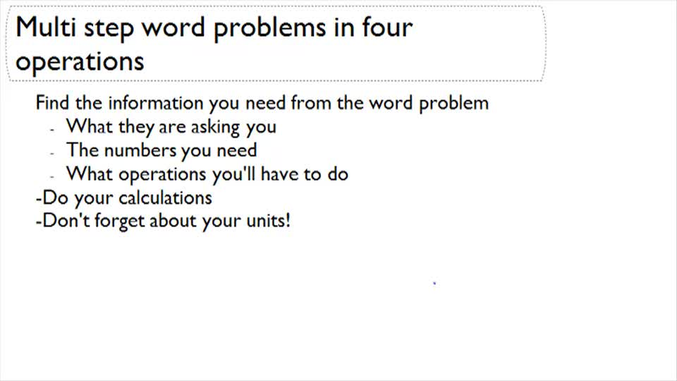 Multi-step word problems in four operations - Overview