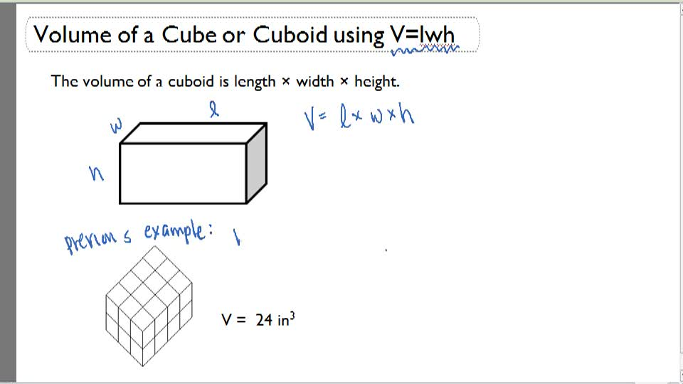 Volume of a Cube or Cuboid using V = lwh - Overview
