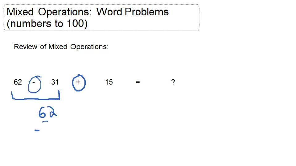 Mixed Operations: Word Problems (numbers to 100) - Overview