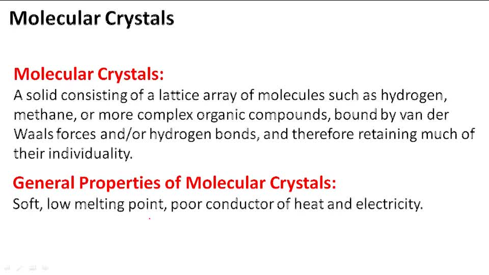 Molecular Crystals - Overview