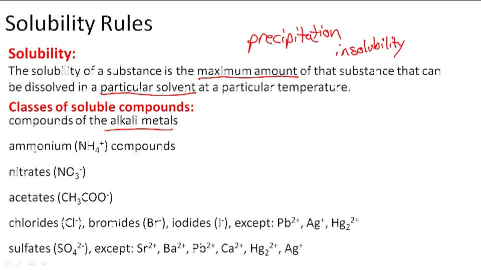 Predicting Precipitates Using Solubility Rules – Solubility Rules Worksheet