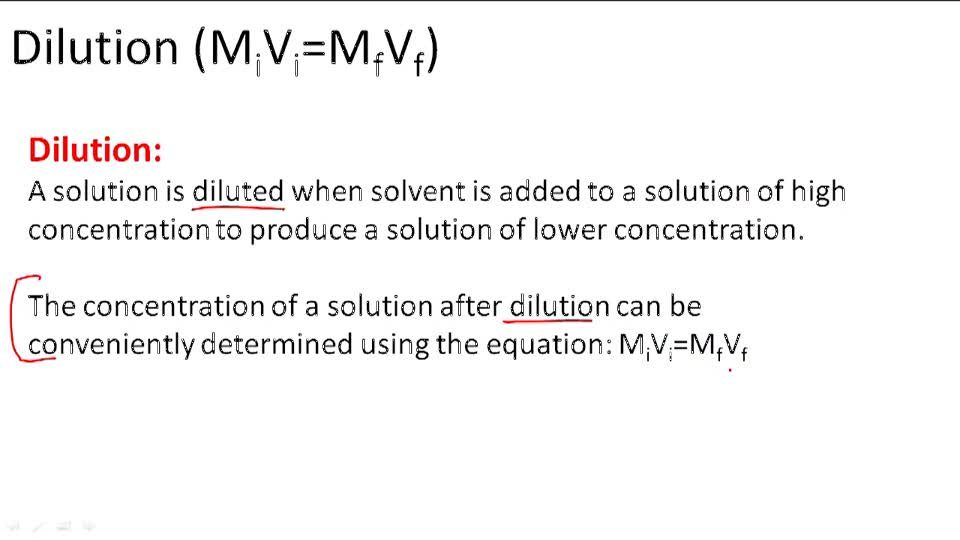 Dilution (M[i]V[i]=M[f]V[f]) - Overview