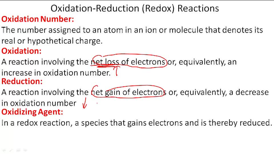 Oxidation-Reduction (Redox) Reactions - Overview