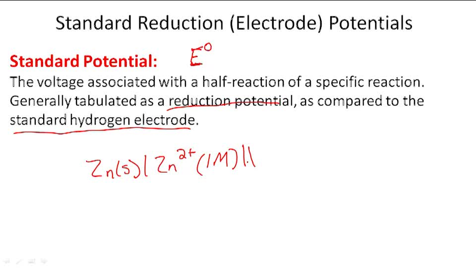 Standard Reduction (Electrode) Potentials - Overview