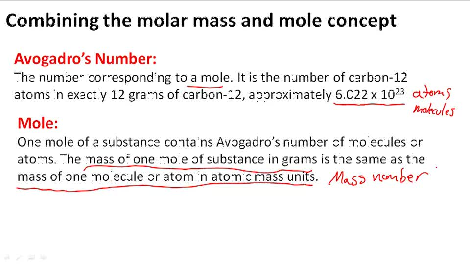 Combining the molar mass and mole concept - Overview