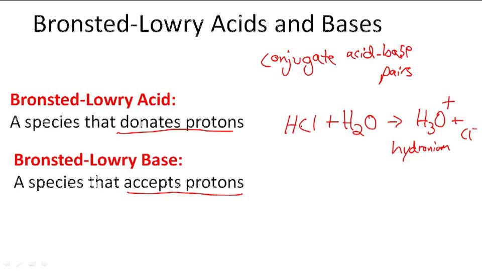 Bronsted-Lowry Acids and Bases - Overview