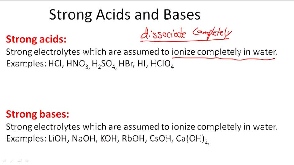 Strong Acids and Bases - Overview