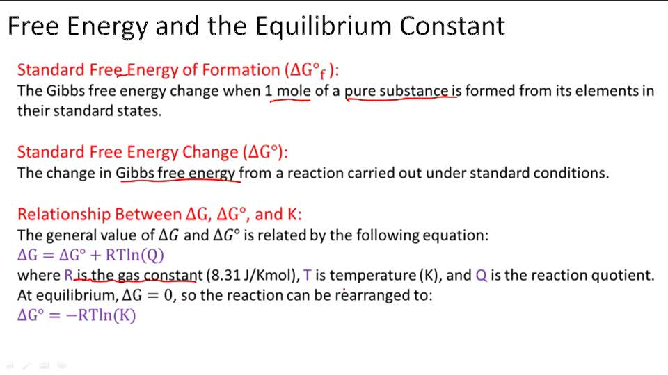 Relationship between Free Energy and Equilibrium Constant - Overview