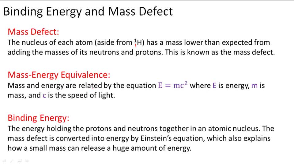 Binding Energy and Mass Defect - Overview