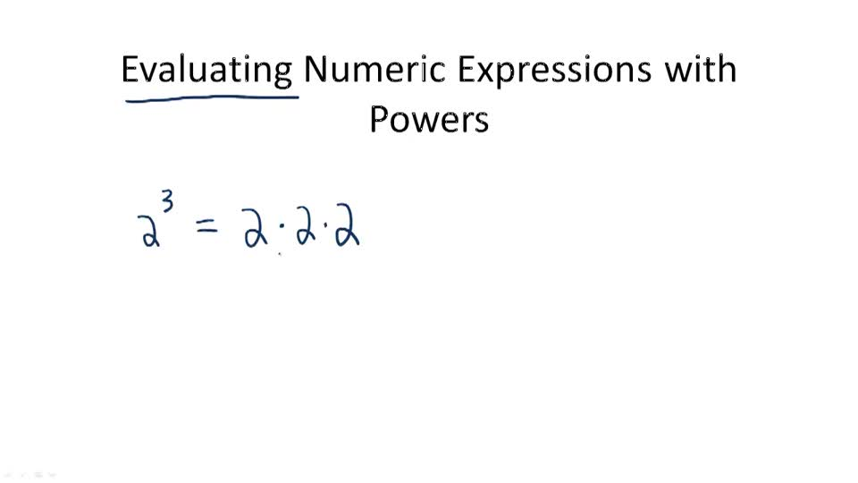 Evaluating Numeric Expressions with Powers - Overview
