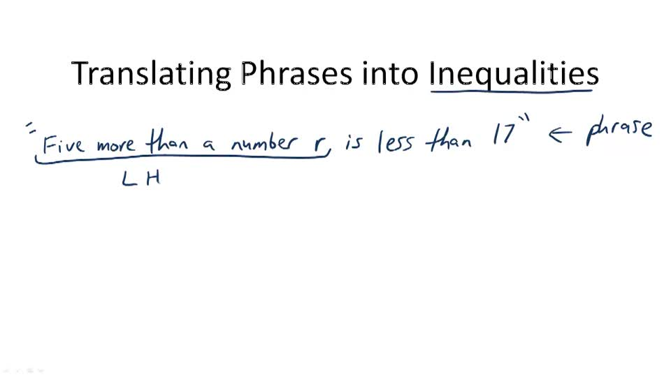 Translating Phrases into Inequalities - Overview