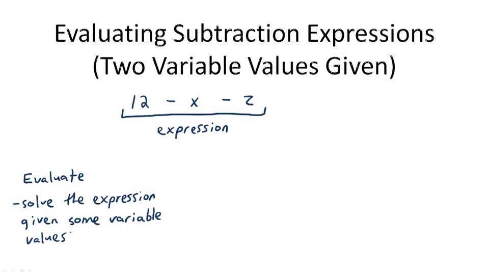 Evaluating Subtraction Expressions (One Variable Value Given) - Overview