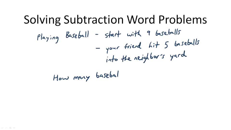 Solving Subtraction Word Problems - Overview