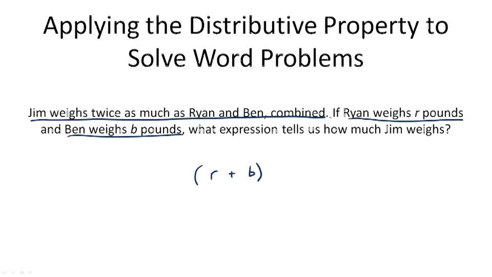 Applying the Distributive Property to Solve Word Problems - Overview