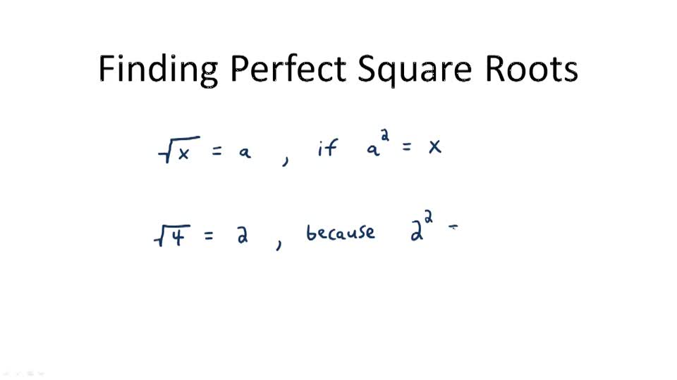 Finding Perfect Square Roots - Overview