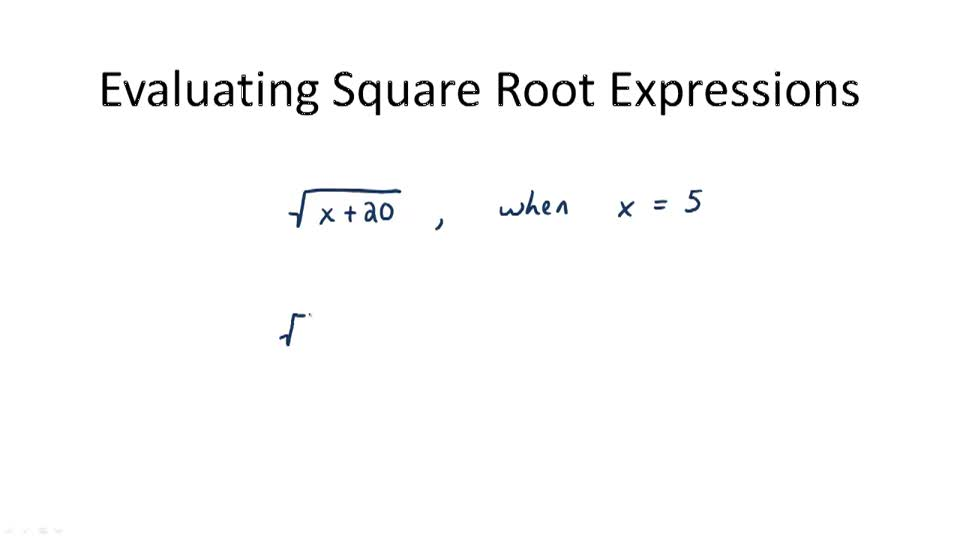 Evaluating Square Root Expressions - Overview