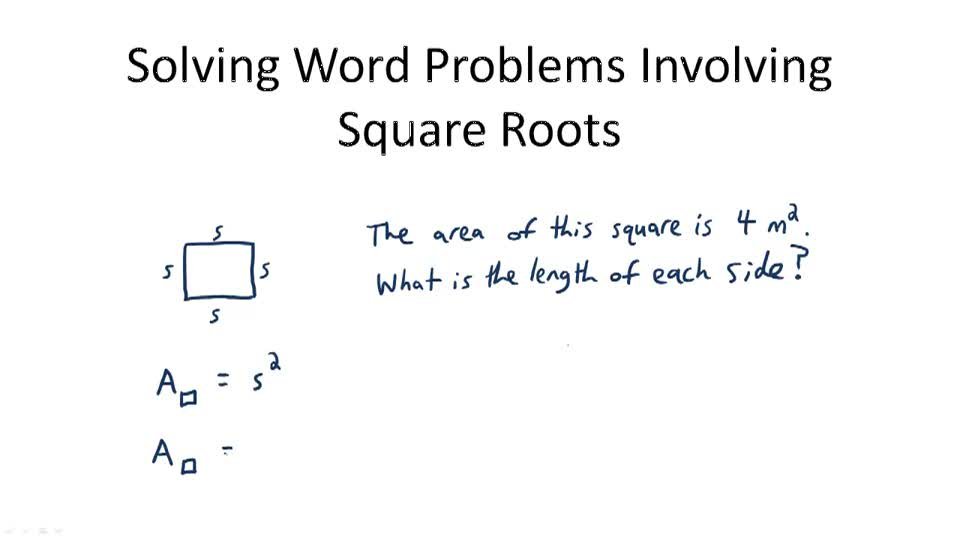 Solving Word Problems Involving Square Roots - Overview