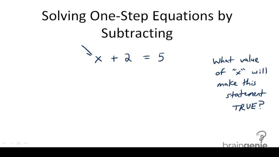 Solving One-Step Equations by Subtracting - Overview