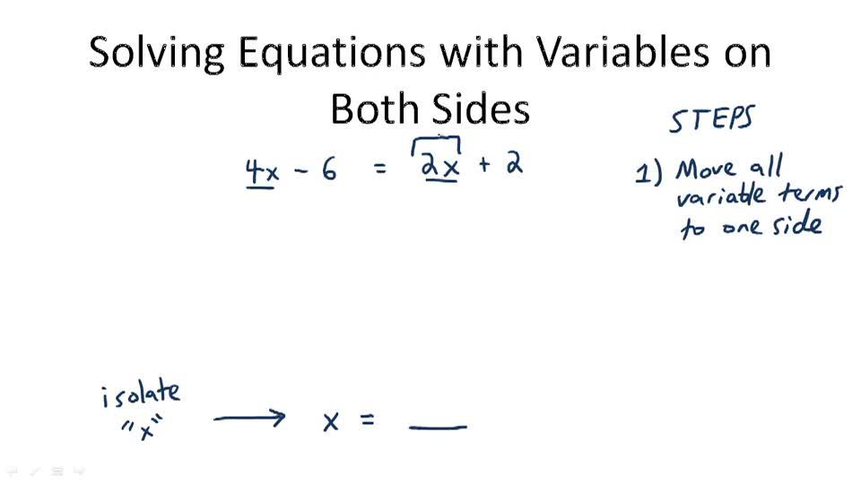Solving Equations with Variables on Both Sides - Overview