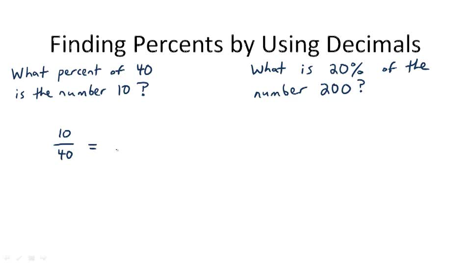 Finding Percents by Using Decimals - Overview