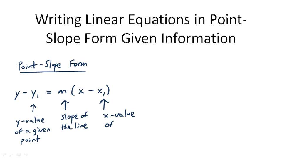 Writing Linear Equations in Point-Slope Form Given Information - Overview