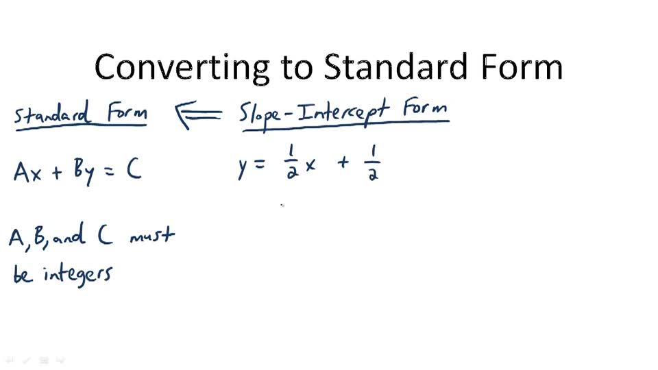 Converting to Standard Form - Overview