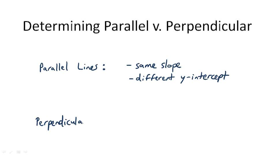 Determining Parallel v. Perpendicular - Overview