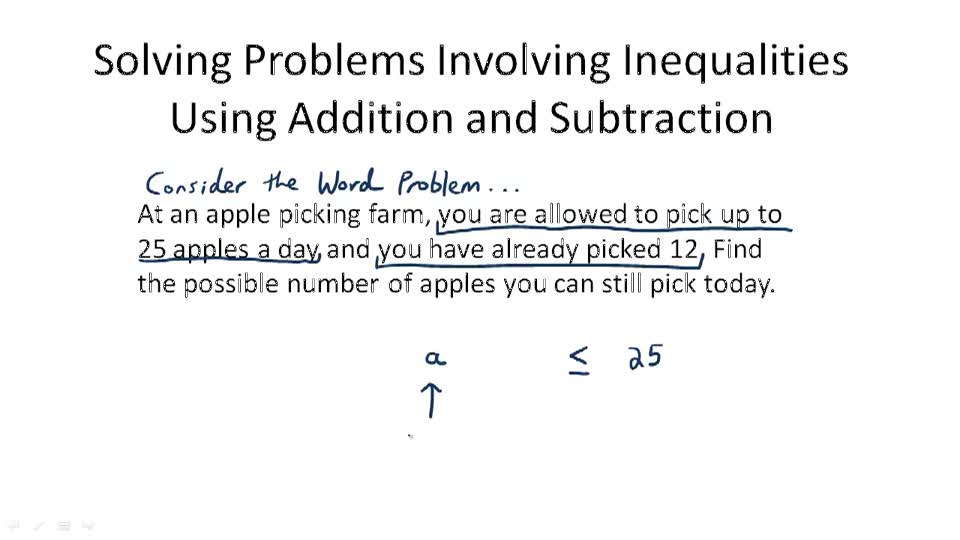 Solving Problems Involving Inequalities Using Addition and Subtraction - Overview
