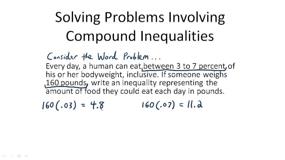 Solving Problems Involving Compound Inequalities - Overview