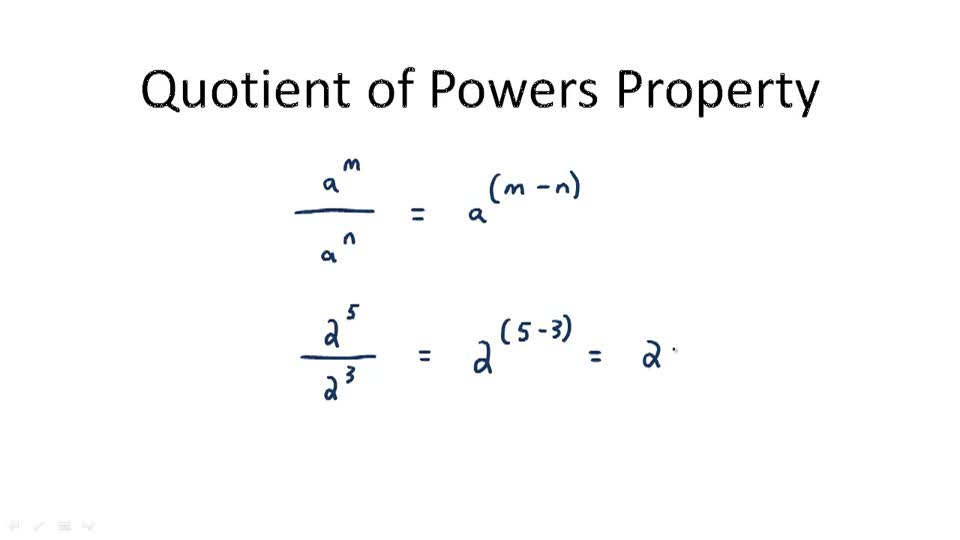 Quotient of Powers Property - Overview