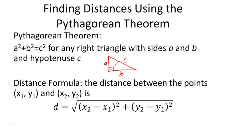 Distance Formula And The Pythagorean Theorem ( Video ) | Geometry