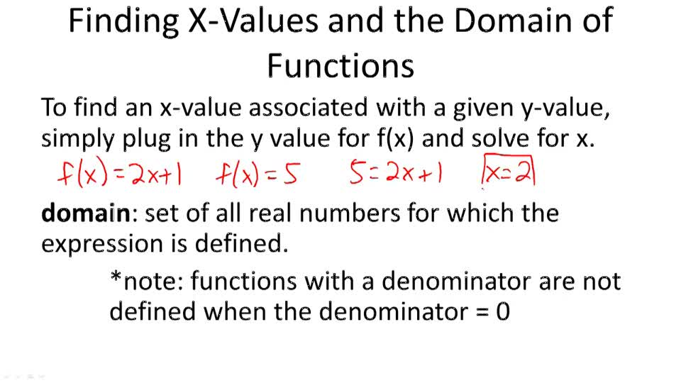 Finding X-Values and the Domain of Functions - Overview