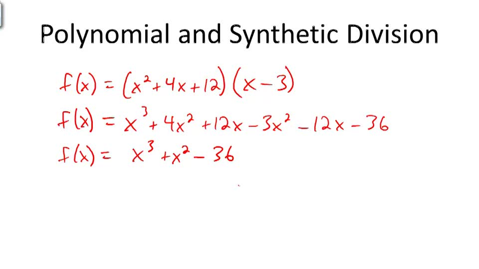 Polynomials and Synthetic Division - Overview