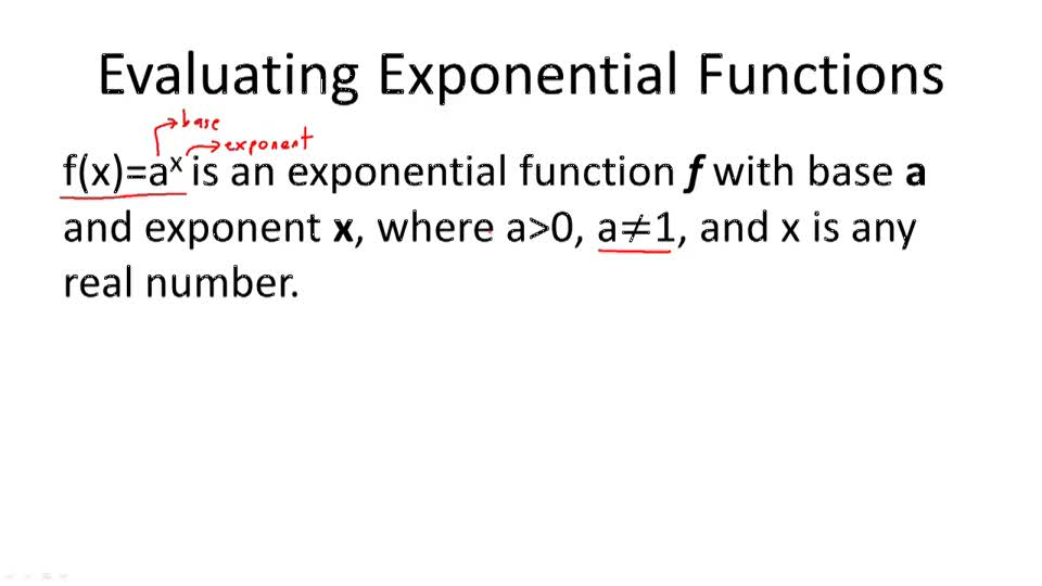 Evaluating Exponential Functions - Overview