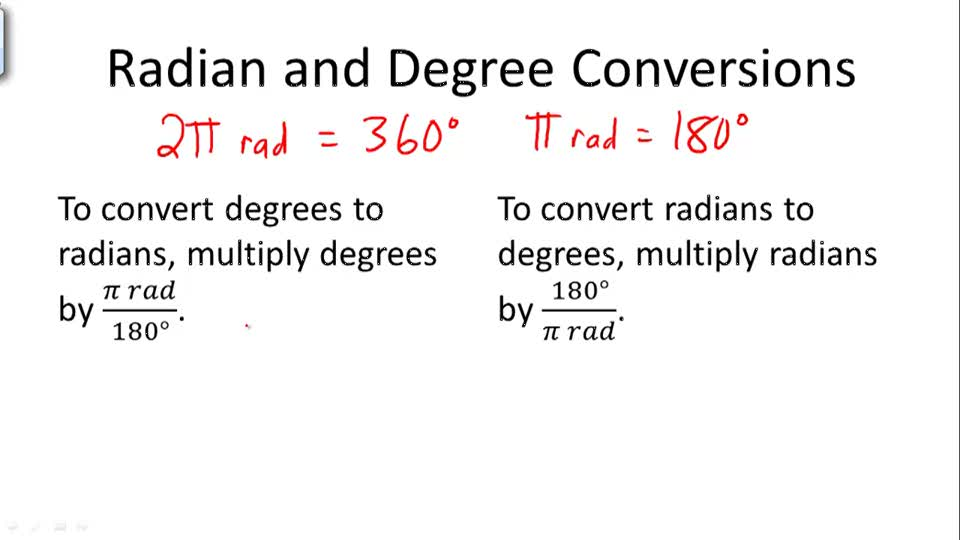 Radian and Degree Conversions - Overview