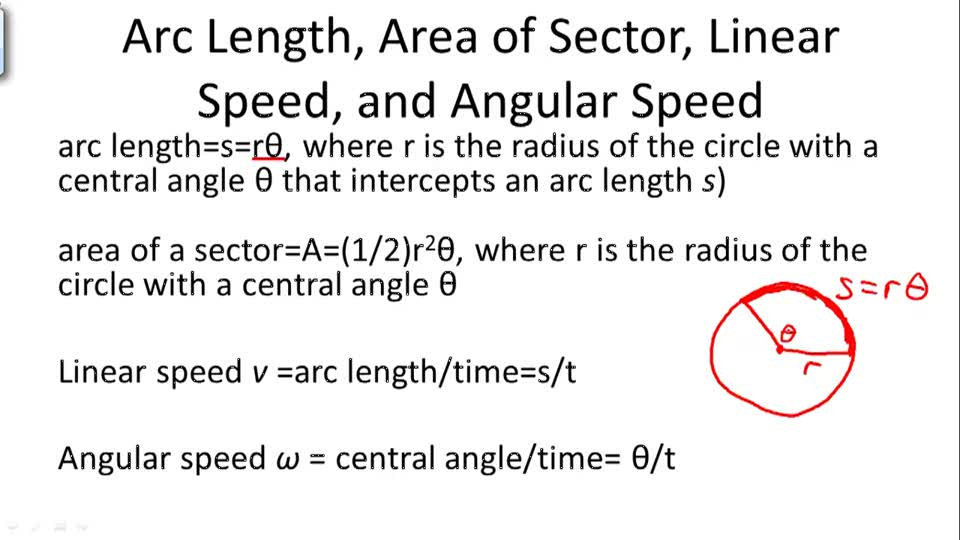 Arc Length, Area of Sector, Linear Speed, and Angular Speed - Overview