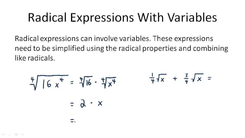 Radical Expressions With Variables - Overview