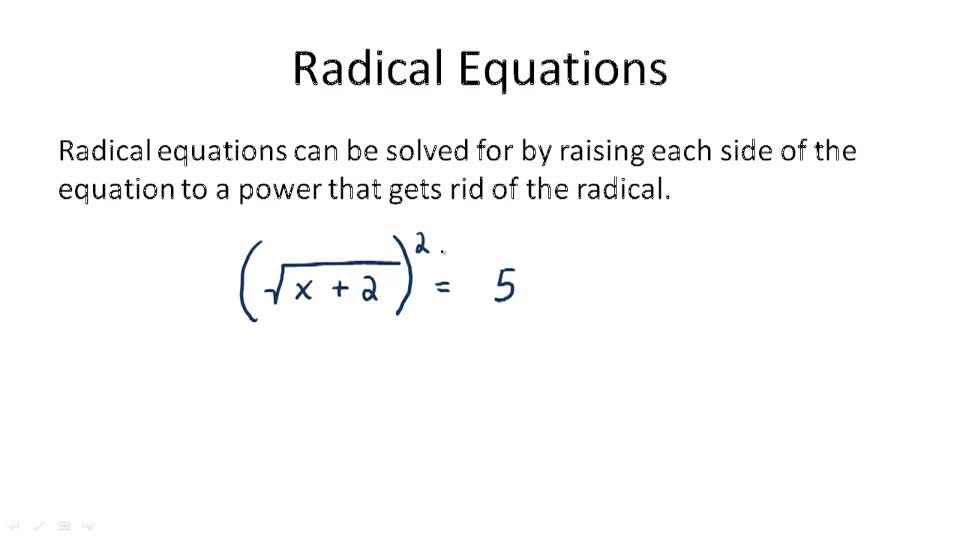 Radical Equations - Overview