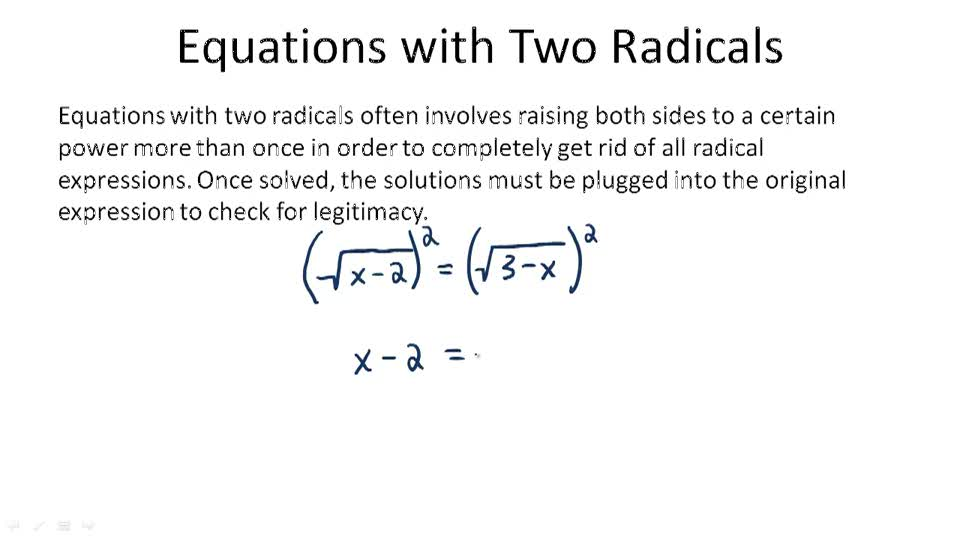 Equations with Two Radicals - Overview