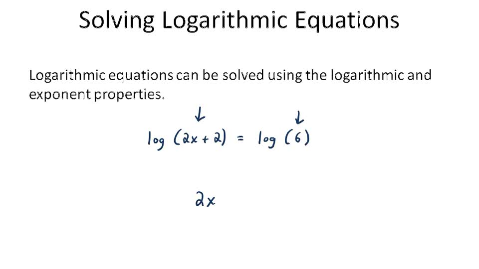 Solving logarithmic Equations - Overview