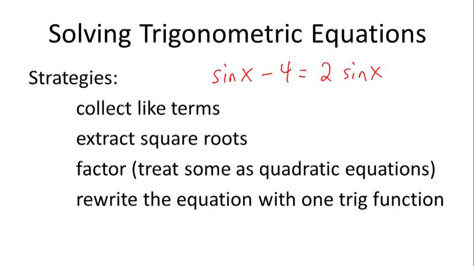 Solving Trigonometric Equations - Overview