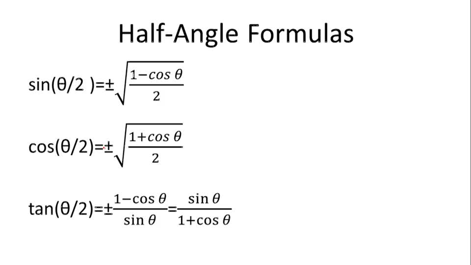 Half-Angle Formulas - Overview