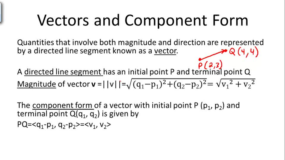 Vectors and Component Form - Overview