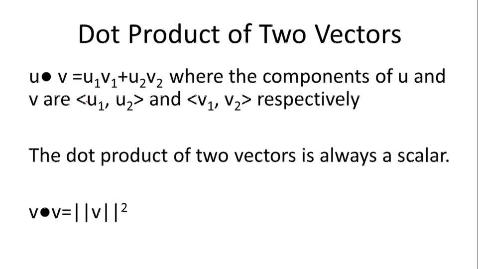 Dot Product of Two Vectors - Overview