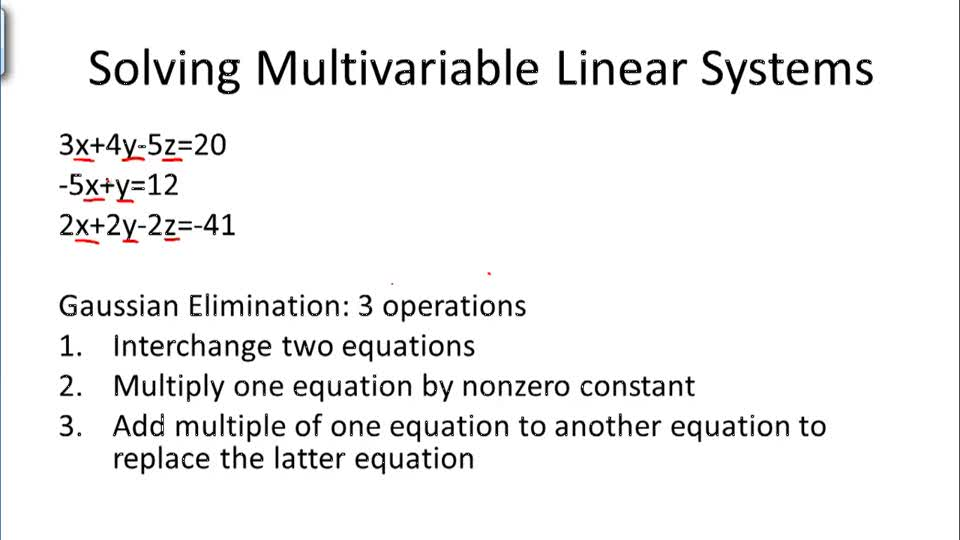 Solving Multivariable Linear Systems - Overview
