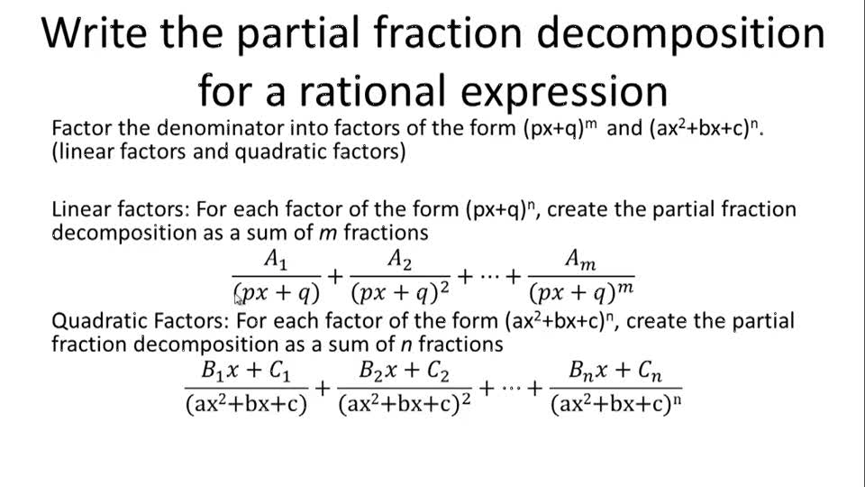 Write the partial fraction decomposition for a rational expression - Overview