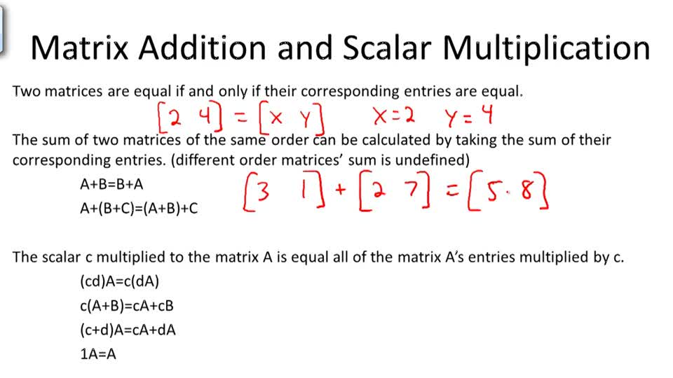 Matrix Addition and Scalar Multiplication - Overview