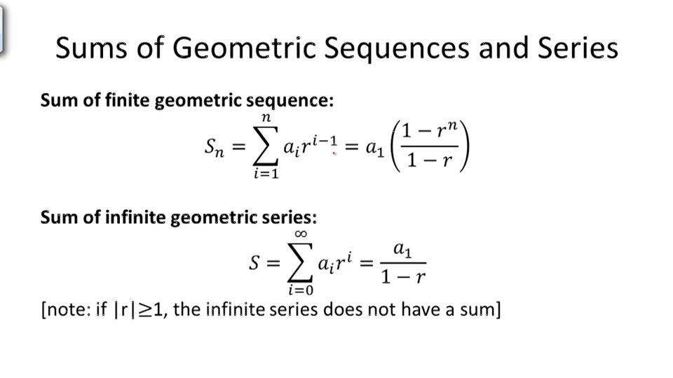 Sums of Geometric Sequences and Series - Overview