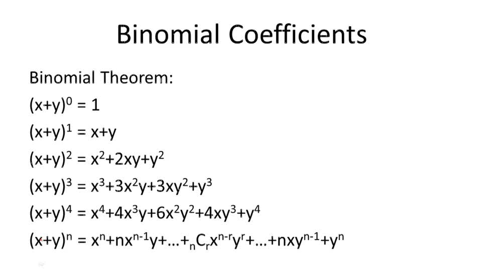 Binomial Coefficients and Expansions - Overview