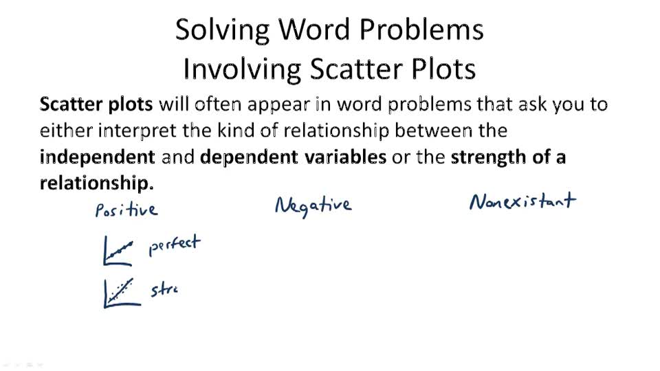 Solving Word Problems Involving Scatter Plots - Overview